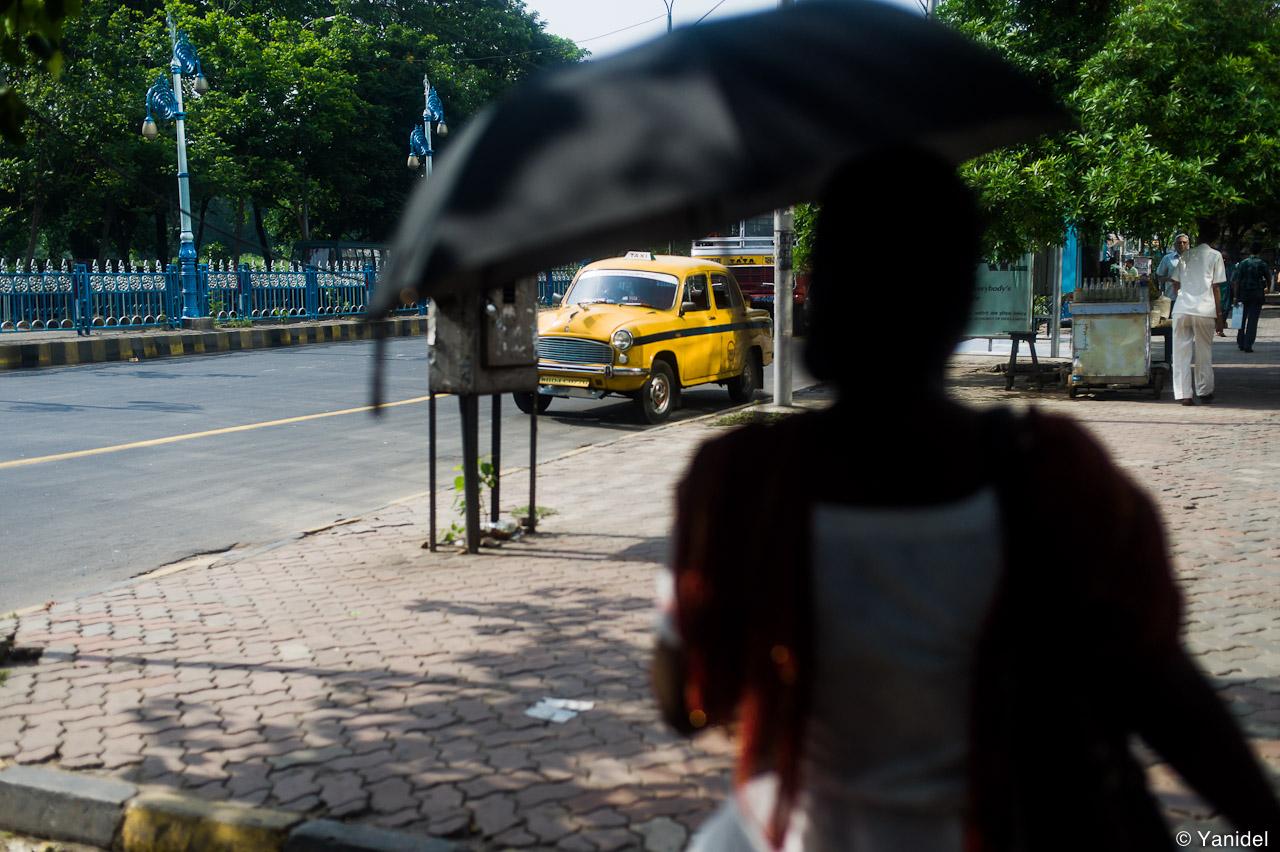 Calcutta umbrella woman